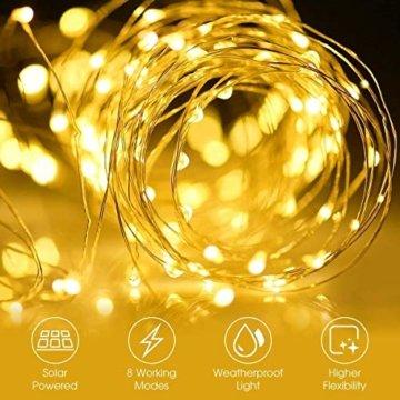 [2 Stück] Solar Lichterkette Außen, 12M 120 LED Lichterketten Aussen, Wasserdicht Kupferdraht Weihnachtsbeleuchtung Warmweiß Lichterkette für Balkon, gartendeko, Bäume, Terrasse, Hochzeiten, Partys. - 3
