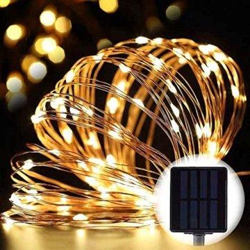 [2 Stück] Solar Lichterkette Außen, 12M 120 LED Lichterketten Aussen, Wasserdicht Kupferdraht Weihnachtsbeleuchtung Warmweiß Lichterkette für Balkon, gartendeko, Bäume, Terrasse, Hochzeiten, Partys. - 4