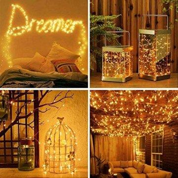 [2 Stück] Solar Lichterkette Außen, 12M 120 LED Lichterketten Aussen, Wasserdicht Kupferdraht Weihnachtsbeleuchtung Warmweiß Lichterkette für Balkon, gartendeko, Bäume, Terrasse, Hochzeiten, Partys. - 5
