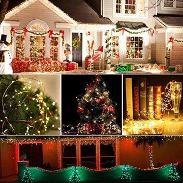 [2 Stück] Solar Lichterkette Außen, 12M 120 LED Lichterketten Aussen, Wasserdicht Kupferdraht Weihnachtsbeleuchtung Warmweiß Lichterkette für Balkon, gartendeko, Bäume, Terrasse, Hochzeiten, Partys. - 6