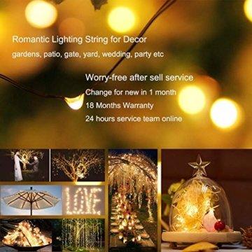 [2 Stück] Solar Lichterkette Außen, 12M 120 LED Lichterketten Aussen, Wasserdicht Kupferdraht Weihnachtsbeleuchtung Warmweiß Lichterkette für Balkon, gartendeko, Bäume, Terrasse, Hochzeiten, Partys. - 7