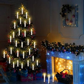 20/30/40/50/60 stk LED Kerzen LED Lichterkette Kabellos Dimmbar Kerzenlichter Flammenlose Weihnachtskerzen für Weihnachtsbaum, Weihnachtsdeko, Hochzeit, Geburtstags, Party (milchweisse Hülle, 40stk) - 5