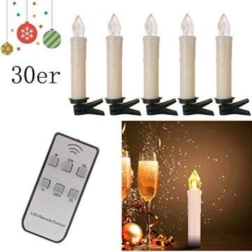 20/30/40er LED Lichterkette Kabellos Weihnachtskerzen Christbaumschmuck Weihnachtsbaumbeleuchtung 30*milchweisse Hülle - 4