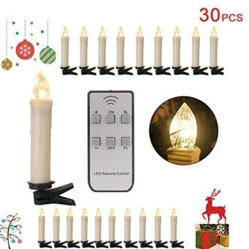20/30/40er LED Lichterkette Kabellos Weihnachtskerzen Christbaumschmuck Weihnachtsbaumbeleuchtung 30*milchweisse Hülle - 1