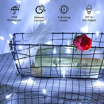 200 LED Lichterkette Außen BrizLabs Kaltweiss Weihnachten Außenbeleuchtung 22M 8 Modi Wasserdicht Weihnachtsbeleuchtung für Outdoor Garten Hochzeit Party Baum Innen Halloween Deko - 2