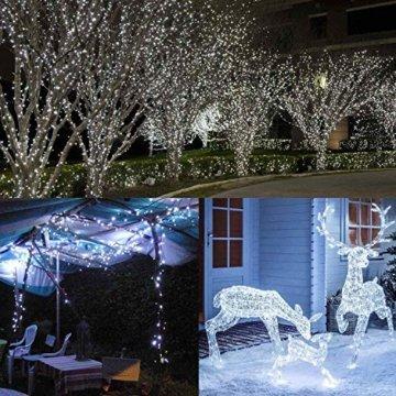 200 LED Lichterkette Außen BrizLabs Kaltweiss Weihnachten Außenbeleuchtung 22M 8 Modi Wasserdicht Weihnachtsbeleuchtung für Outdoor Garten Hochzeit Party Baum Innen Halloween Deko - 3