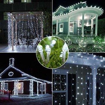 200 LED Lichterkette Außen BrizLabs Kaltweiss Weihnachten Außenbeleuchtung 22M 8 Modi Wasserdicht Weihnachtsbeleuchtung für Outdoor Garten Hochzeit Party Baum Innen Halloween Deko - 6