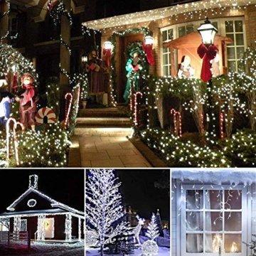 200 LED Lichterkette Außen BrizLabs Kaltweiss Weihnachten Außenbeleuchtung 22M 8 Modi Wasserdicht Weihnachtsbeleuchtung für Outdoor Garten Hochzeit Party Baum Innen Halloween Deko - 7