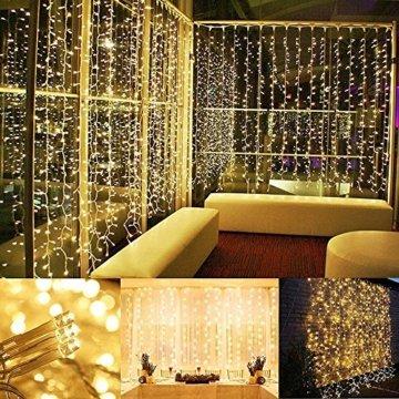 200 LED Lichterkette, Tomshine 23M Lange Lichterkette Steckdose für Innen und Außen, Strombetrieben mit EU Stecker, IP44 Wasserdicht, 8 Modi Dimmbar, Warmweiß Lichterkette für Party, Beleuchtungdeko - 2