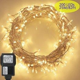 200 LED Lichterkette, Tomshine 23M Lange Lichterkette Steckdose für Innen und Außen, Strombetrieben mit EU Stecker, IP44 Wasserdicht, 8 Modi Dimmbar, Warmweiß Lichterkette für Party, Beleuchtungdeko - 1