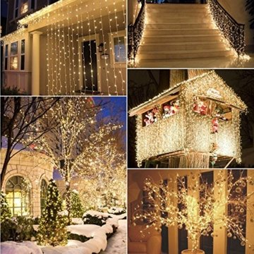200 LED Lichterkette, Tomshine 23M Lange Lichterkette Steckdose für Innen und Außen, Strombetrieben mit EU Stecker, IP44 Wasserdicht, 8 Modi Dimmbar, Warmweiß Lichterkette für Party, Beleuchtungdeko - 4