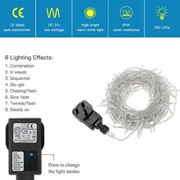 200 LED Lichterkette, Tomshine 23M Lange Lichterkette Steckdose für Innen und Außen, Strombetrieben mit EU Stecker, IP44 Wasserdicht, 8 Modi Dimmbar, Warmweiß Lichterkette für Party, Beleuchtungdeko - 9