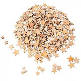 200 Stücke Holzsterne Blank Holz Stern Scheiben Mini Stern Verschönerungen für Hochzeit Handwerk Making DIY, Gemischt 4 Größen - 1