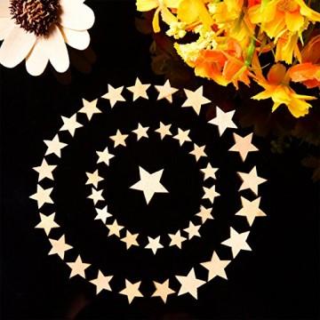 200 Stücke Holzsterne Blank Holz Stern Scheiben Mini Stern Verschönerungen für Hochzeit Handwerk Making DIY, Gemischt 4 Größen - 4