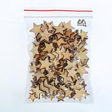 200 Stücke Holzsterne Blank Holz Stern Scheiben Mini Stern Verschönerungen für Hochzeit Handwerk Making DIY, Gemischt 4 Größen - 8