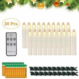 20er LED Kerzen,EXTSUD LED Weihnachtskerzen mit Batterien&Fernbedienung, IP64 Dimmbar Kerzenlichter Warmweiß Flammenlose Kerzen für Weihnachtsbaum,Weihnachtsdeko,Hochzeitsdeko,Geburtstags,Party - 1