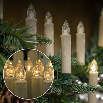 20er LED Kerzen,EXTSUD LED Weihnachtskerzen mit Batterien&Fernbedienung, IP64 Dimmbar Kerzenlichter Warmweiß Flammenlose Kerzen für Weihnachtsbaum,Weihnachtsdeko,Hochzeitsdeko,Geburtstags,Party - 4