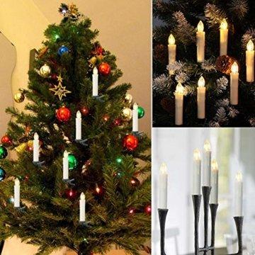 20er LED Kerzen,EXTSUD LED Weihnachtskerzen mit Batterien&Fernbedienung, IP64 Dimmbar Kerzenlichter Warmweiß Flammenlose Kerzen für Weihnachtsbaum,Weihnachtsdeko,Hochzeitsdeko,Geburtstags,Party - 8