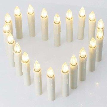 20er led Weihnachtskerzen Timer mit Batterien, led kerzen Dimmbar IP64 Flammenlose Lichterkette für Weihnachtsbaum, Weihnachtsdeko, Hochzeit, Geburtstags, Party (Warmes Weiß) - 3