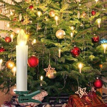 20er led Weihnachtskerzen Timer mit Batterien, led kerzen Dimmbar IP64 Flammenlose Lichterkette für Weihnachtsbaum, Weihnachtsdeko, Hochzeit, Geburtstags, Party (Warmes Weiß) - 4