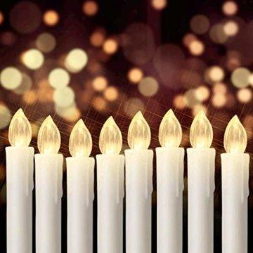 20er led Weihnachtskerzen Timer mit Batterien, led kerzen Dimmbar IP64 Flammenlose Lichterkette für Weihnachtsbaum, Weihnachtsdeko, Hochzeit, Geburtstags, Party (Warmes Weiß) - 8