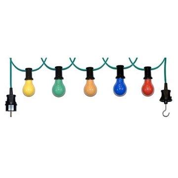 20m Illu Leitung Lichterkette für innen u. außen inkl. 20 Fassungen + Glühbirnen E27 25W bunt gemischt - 1