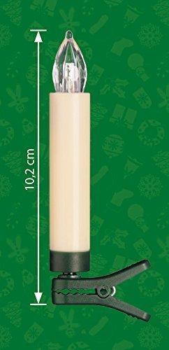 25-er Set LED Weihnachtsbaumkerzen ✔ kabellos ✔ Timer ✔ Dimmfunktion ✔ Flacker-Modus ✔ GS geprüft ✔ inkl. Batterien ✔ Weihnachtsbeleuchtung für Innen & geschützten Außenbereich (25er Creme/Elfenbein) - 4