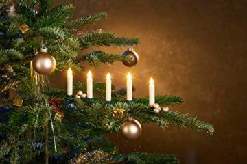 25-er Set LED Weihnachtsbaumkerzen ✔ kabellos ✔ Timer ✔ Dimmfunktion ✔ Flacker-Modus ✔ GS geprüft ✔ inkl. Batterien ✔ Weihnachtsbeleuchtung für Innen & geschützten Außenbereich (25er Creme/Elfenbein) - 5