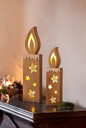 """2er LED Kerze """"Sternenschein"""" mit 3D-Leuchteffekt, Licht, Stern aus Holz - 1"""