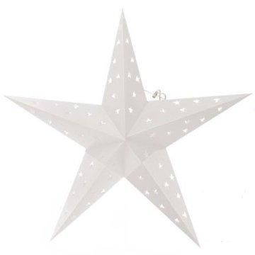 2er Pack LED Falt Weihnachtssterne mit je 10 LED, 60 cm Ø, Weiß BRUBAKER - 2