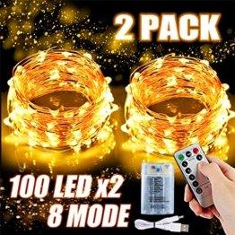 2x 100 Led Lichterkette Weihnachtsbaum Batterie TBoonor Lichterketten für Zimmer, 20M Wasserdicht Kupferdraht Lichterkette mit 8 Modi Fernbedienung & Timer für Party, Außen (Warm weiß - 100Led*2) - 1