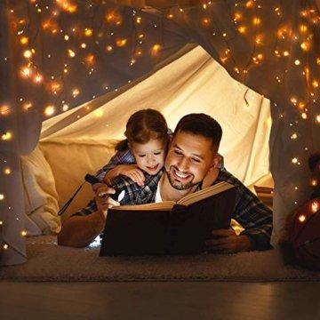 2x 100 Led Lichterkette Weihnachtsbaum Batterie TBoonor Lichterketten für Zimmer, 20M Wasserdicht Kupferdraht Lichterkette mit 8 Modi Fernbedienung & Timer für Party, Außen (Warm weiß - 100Led*2) - 4