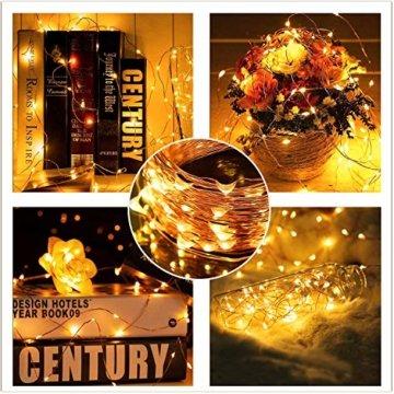 2x 100 Led Lichterkette Weihnachtsbaum Batterie TBoonor Lichterketten für Zimmer, 20M Wasserdicht Kupferdraht Lichterkette mit 8 Modi Fernbedienung & Timer für Party, Außen (Warm weiß - 100Led*2) - 6