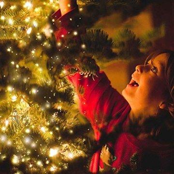 2x 100 Led Lichterkette Weihnachtsbaum Batterie TBoonor Lichterketten für Zimmer, 20M Wasserdicht Kupferdraht Lichterkette mit 8 Modi Fernbedienung & Timer für Party, Außen (Warm weiß - 100Led*2) - 7