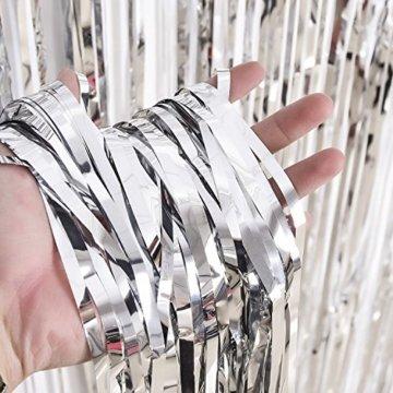 3 Packung Metallic Tinsel Vorhänge, Folie Fringe Shimmer Vorhang Tür Fenster Dekoration für Geburtstag Hochzeit (Silber) - 3