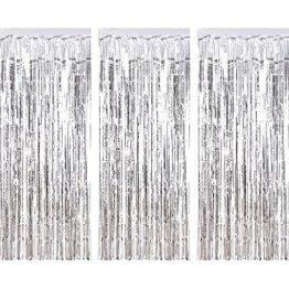 3 Packung Metallic Tinsel Vorhänge, Folie Fringe Shimmer Vorhang Tür Fenster Dekoration für Geburtstag Hochzeit (Silber) - 1