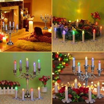 30x LED Kerzen Weihnachtskerzen RGB&Warmweiß mit Batterien Fernbedienung Timer IP64 inkl. Klammer Saugnapf Steckdrne für Auß-Innen Weihnachten Weihnachtsbaum Hochzeit Partys Deko Weihnachtsbaumkerzen - 5
