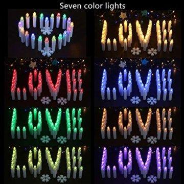 30x LED Kerzen Weihnachtskerzen RGB&Warmweiß mit Batterien Fernbedienung Timer IP64 inkl. Klammer Saugnapf Steckdrne für Auß-Innen Weihnachten Weihnachtsbaum Hochzeit Partys Deko Weihnachtsbaumkerzen - 7