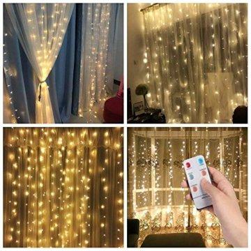 3*3m 300er LED Diamant Lichtvorhang Fernbedienung Home Dekorations Licht IP44 wasserfest Kupferkabel LED Lichterketten für Weihnachten / Deko / Party, Weihnachtsbeleuchtung, Hochzeit usw - Warmweiß - 2