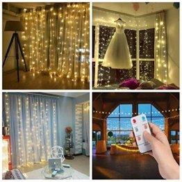 3*3m 300er LED Diamant Lichtvorhang Fernbedienung Home Dekorations Licht IP44 wasserfest Kupferkabel LED Lichterketten für Weihnachten / Deko / Party, Weihnachtsbeleuchtung, Hochzeit usw - Warmweiß - 1
