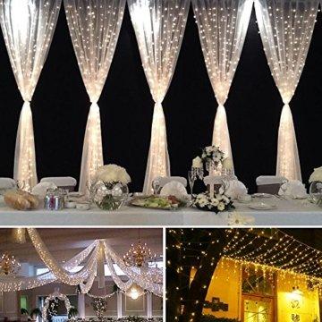 3*3m 300er LED Diamant Lichtvorhang Fernbedienung Home Dekorations Licht IP44 wasserfest Kupferkabel LED Lichterketten für Weihnachten / Deko / Party, Weihnachtsbeleuchtung, Hochzeit usw - Warmweiß - 4