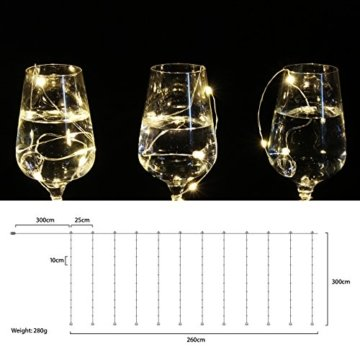 3*3m 300er LED Diamant Lichtvorhang Fernbedienung Home Dekorations Licht IP44 wasserfest Kupferkabel LED Lichterketten für Weihnachten / Deko / Party, Weihnachtsbeleuchtung, Hochzeit usw - Warmweiß - 5