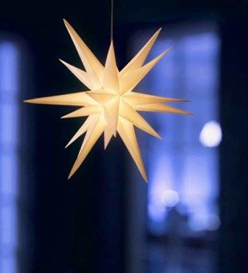 3D Leuchtstern / mit warm-weißer LED Beleuchtung / für Innen und Außen geeignet / hängend / 7,5 m Zuleitung / ca. 57x44x48 cm (Weiß) - 2