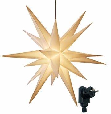 3D Leuchtstern / mit warm-weißer LED Beleuchtung / für Innen und Außen geeignet / hängend / 7,5 m Zuleitung / ca. 57x44x48 cm (Weiß) - 1