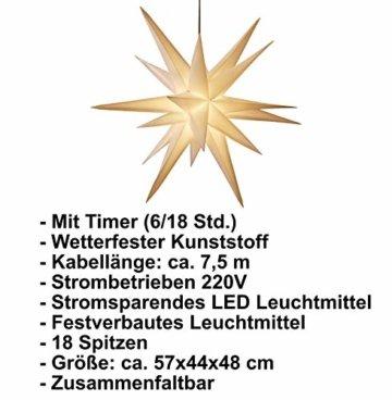 3D Leuchtstern / mit warm-weißer LED Beleuchtung / für Innen und Außen geeignet / hängend / 7,5 m Zuleitung / ca. 57x44x48 cm (Weiß) - 5
