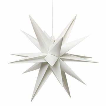 3D Leuchtstern / mit warm-weißer LED Beleuchtung / für Innen und Außen geeignet / hängend / 7,5 m Zuleitung / ca. 57x44x48 cm (Weiß) - 6