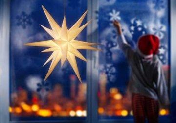3D Leuchtstern / mit warm-weißer LED Beleuchtung / für Innen und Außen geeignet / hängend / 7,5 m Zuleitung / ca. 57x44x48 cm (Weiß) - 7