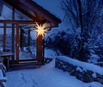 3D Leuchtstern / mit warm-weißer LED Beleuchtung / für Innen und Außen geeignet / hängend / 7,5 m Zuleitung / ca. 57x44x48 cm (Weiß) - 8