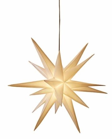 3D Leuchtstern / mit warm-weißer LED Beleuchtung / für Innen und Außen geeignet / hängend / 7,5 m Zuleitung / ca. 57x44x48 cm (Weiß) - 9