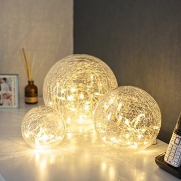 3er Set LED Glaskugeln warmweiß batteriebetrieben - 2